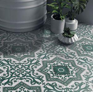 Small flower brick dark green retro floor tiles 300 * 300mm restaurant balcony non slip ceramic tile matte mosaic