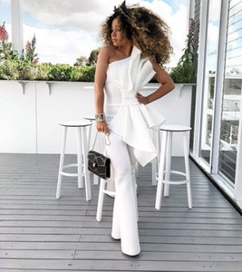 Vintage White Women Jumpsuits One Shoulder Prom Dresses Hand Made Flower Sleeveless Elegant Satin Formal Party Evening Gowns Custom Made