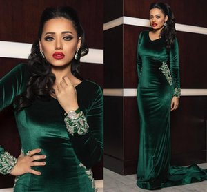 Aso Ebi Emerald Green Evening Formal Dresses with Beaded Crystal 2020 V-neck Long Sleeve Velvet Mermaid Arabic Prom Gowns