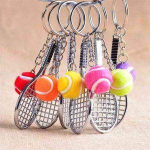20pcs lot tennis racket keychain key ring tennis racquet key chain key holder portachiavi chaveiro llaveros mujer bag charm 210410