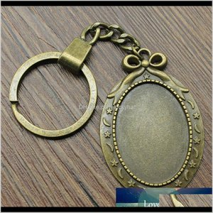 6 Pieces Chain Women Key Rings Couple Keychain For Keys Bow Knot Star Moon Inner Size 25X35Mm Oval Cabochon Cameo Base Tray Bezel Daxd Zx6Wq