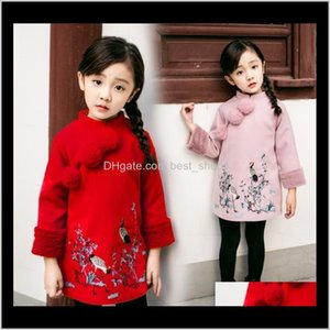 Clothing Baby, & Maternity Drop Delivery 2021 Kids Winter Chinese Cheongsam Style Thick Warm Year Baby Girls Long Sleeve Princess Dresses For
