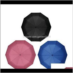 Umbrellas 10 Spokes Matic Oversized Three-Folding Wood Handle Men'S Business Umbrella Sunshade Windproof Double 3L3Dn Wvzcy