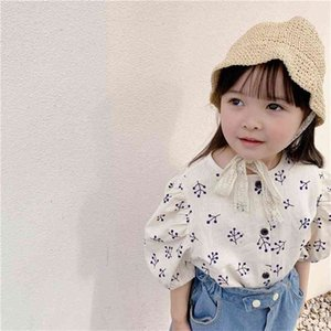 Japanese style girls puff sleeve floral shirts linen loose single-breasted printing shirt clothes 210708