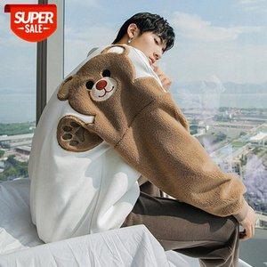Плюс бархат толстый осень и зима круглые шеи с длинными рукавами волосы волосы ягненка, стекающие милый медведь свободный ленивый стиль свитер мужчины # CS7U