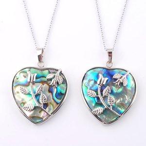 Wojiaer 6 pz / lotto collane ciondoli donne gioielli unici naturali neozelandese neozelanda abalone shell gemma pietra amore cuore perline DN3645