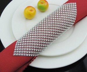 Crystal Mesh Wrap Napkin Ring Holder Table Serviette Holder Buckle Strap Chair Sash Wedding Party XMAS DIY Decor multi colors