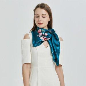 Écharpes 19 Soie d'hiver Femmes Style chinois Sombre Magnolia Flower Imprimé