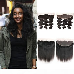 Lace Frontal Straight Body Wave Closure Ear to Ear 13x4 with Baby Hair Brazilian Virgin Human Hair Extensions Top Closure Natural Hairline