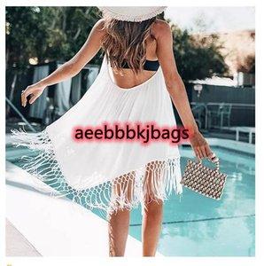 Cover-ups Thin Cotton Summer Women Bikini Cover Up Sexy Halter Backless Tassel Crochet Swimsuit Dress Swimwear Beach 1