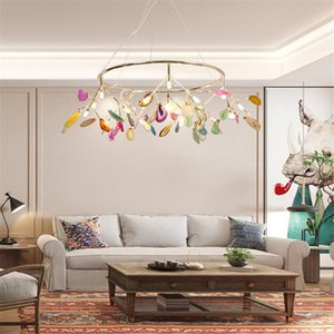 Chandeliers Nordic Modern Branch Agate Stone Led Chandelier For Home Decoration Luxury Living Dining Room Firefly Indoor Lighting