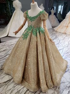 Real Picture Ball Gown Gold Sequined Girl's Pageant Dresses Cap Sleeve Handmade Flowers Crystal Lace Up Flower Girls Gowns