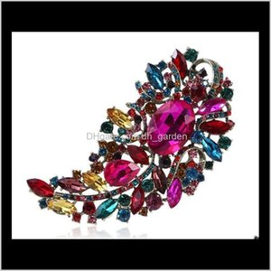 Pins Jewelry Drop Delivery 2021 4Dot4 Inch Luxury Brooch Big Clear Crystals Rhinestone Wedding Bridal Pins Brooches Arrival High Quality Stun