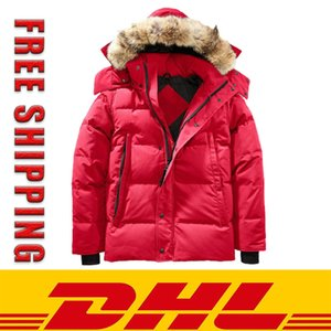 DHL Freeshiping Winter Parka Outerwear Wolf fur Hooded Canada Down Jacket top quality Coats Hiver Doudoune 90% white Duck down Parker coat