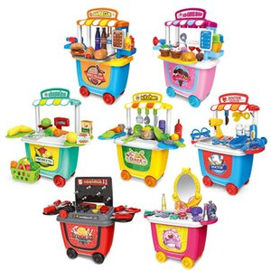 Pretend Play Toy Set BBQ Ice Cream Cart Shop Small Supermarket House Children Home Simulation Mini Trolley Car Kids Toys