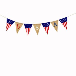 USA Swallowtail Banners Independence Day String Flags Letters Bunting Banner 4th of July Party Decoration HHC7583