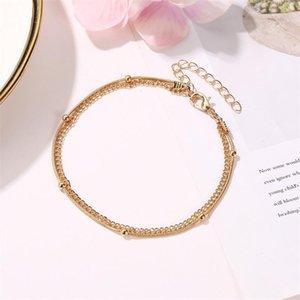 20 pçs / lote dupla camada de ouro anklets moda europeu verão pé jóias para mulheres beads beads Geometric anklets ornamentos 513 T2