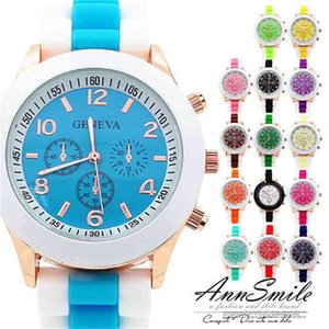 Fashion multi-color Geneva watches, hot students couple watches, high quality fashion casual simple silicone table wholesale