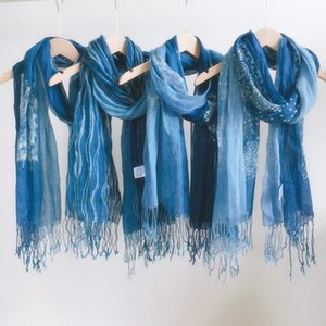 Summer versatile plain 60 * 185cm linen gradient batik blue silk thin scarf