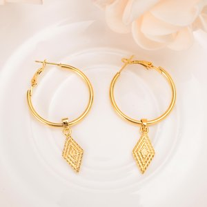 Big Hoops THAI EARRINGS Dangle & Chandelier RHOMBUS 18K Solid Fine BAHT Pure YELLOW GOLD dress Entertainment circle