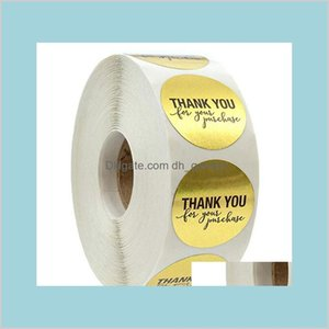 Tapes Stickers Supplies Office School Business Industrial Good Quality 500Pcsroll 1 Inch Gold Round Thank You Adhesive Label Envelope
