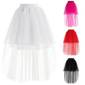 Women Adult 3 Layers Gothic Tulle Irregular Shape Skirts Sexy High Low Tutu Ballet Princess For Party Wedding