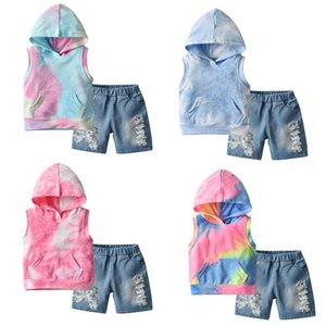 Boys Clothing Sets Kids Suit Baby Outfit Summer Cotton Sleeveless Hoodie Hole Denim Jeans Shorts Pants 2Pcs Casual Children Clothes 1-5Y B4735