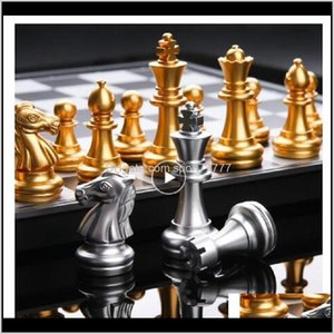 Table Leisure Sports & Outdoors Drop Delivery 2021 Medieval International Set With Chessboard 32 Gold Sier Games Pieces Magnetic Board Game C