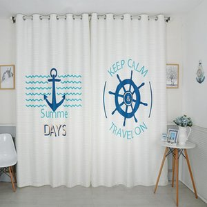 Curtain & Drapes Children Bedroom Blackout 3d Blue Navy Cartoon Boy Anchor Rudder Theme Pattern Velvet Fabric Tulle Home Textile