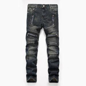 2020 Autumn Spring Men's Ripped Street Hip Hop Punk Stretch Bike Jeans Agujeros de moda Oluños de mezclilla rectos