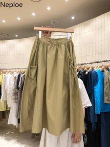 Skirts Neploe 2021 Spring Summer Women Fashion Lace Up Pocket Ruffle Midi Bottom Korean High Waist Causal Solid Skirt 59047