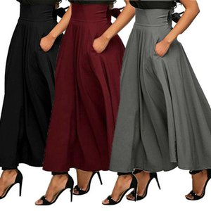 Skirts Fashion Women Stretch High Waist Plain Skater Flared Pleated Swing Long A-Line Solid Cross-Ties