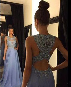 2021 Lavender A Line Prom Dresses Lace Applique Beads Crew Neck Long Bridesmaid Chiffon Formal Evening Party Gowns