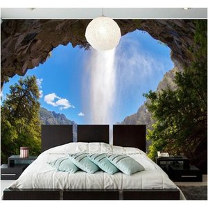 Photo Cave 3d Waterfall Natural Landscape Large Mural Custom Wall Papers Home Decor Wallpaper Jlloob Sport77777
