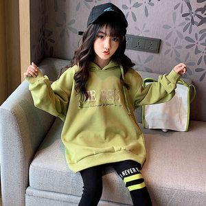 Girls' sweater 2021 winter new Korean hooded Plush thickened warm clothes children's wear