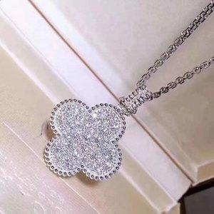 Четырехлистный клевер Свитер цепь женская S925 микро-инкрустированный алмазное длинное ожерелье Цветочные подвески аксессуары роскоши дизайнеры ювелирные изделия