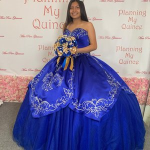 Fashion Royal Blue Satin Tulle 2022 Quinceanera Dresses Gold Embroidered Princess Sweetheart Designer Sweet 15 16 Charra Prom Evening Formal Party Dress