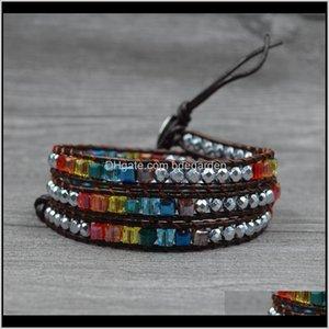Tennis Jewelry Drop Delivery 2021 7 Chakra Bracelet Multi Color Rainbow Crystal Hematite Stone Healing Balance Leather Wrap Handmade Bohemia