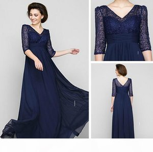 Dark Navy V-neck A-line Floor-length Half Sleeve Lace and Chiffon Mother of the Bride Dress