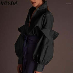 Sexy V Neck Tops 2021 VONDA Mujer Plus Size Blusas Women Blouses Long Latern Sleeve Solid Shirts Femme Work Blusas Loose Tops1