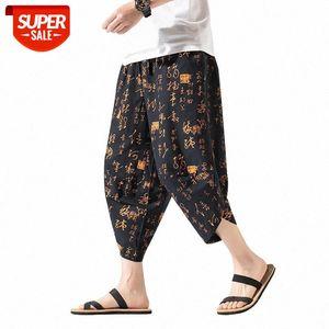 Streetwear Harem Pants Men Chinese Style Printing Casual Mens Joggers Calf-length Wide-leg Trousers #Ep4I