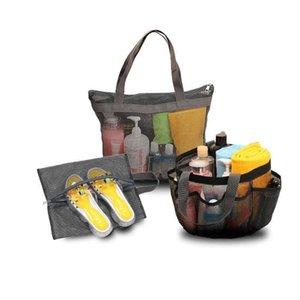 Solid Colors Portable Mesh Luggage Storage Bag Unisex Bath Swimming Shoes Bag Children's Transparent Multifunction Travel Wash Handbag Purse G7963U8