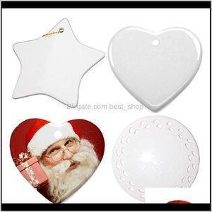Decorations Blanks Christmas Decoration Ceramic Pendant For Sublimation Ink Transfer Printing Heat Press Diy Owc2580 Wvjst Nposr