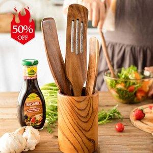 Natural Teak Wood Kitchen Utensils Set Long Handle Spatula Turner Wooden Spurtle Spoon Non Stick Cooking Utensils Kitchen Tools Q0826