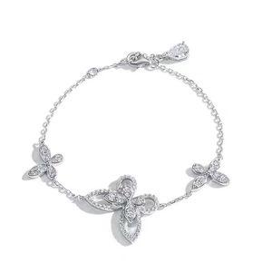 Sterling Silver 100% 925 Jewelry Butterfly Wedding Bracelet Women's Valentine's Day Gift Bracelets for Women