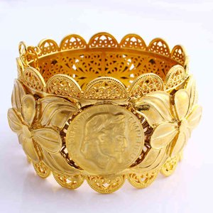 كبير 70 ملليمتر الإسورة الإثيوبية واسعة عملة نحت الأزياء 22 كيلو باهت التايلاندية الصلبة gf دبي النحاس مجوهرات إريتريا سوار acceg3h7