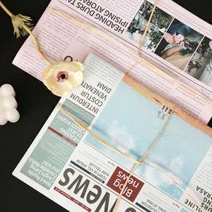 Kraft Paper Flower Packaging Pink Gray Retro Newspaper Gift Packing 10 Sheets bag