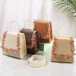 Соломные кошельки и сумочки для детей маленькая цветочная монета кошелек сумка маленькая девочка Rattan Beach Crossbody сумки