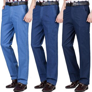 Summer Thin Middle-aged Jeans Casual High Waist Loose Long Denim Pants Male Solid Business Straight For Men Men's
