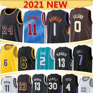 Devin 1 Booker 0 Lillard basketball jersey Los 23 6 Angeles 7 Durant RJ 9 Barrett 2 Lamelo Ball 11 Irving 13 Harden 30 Randle 4 Rose 3 Paul 2021 maglia da basket
